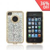 AT&T/ Verizon Apple iPhone 4, iPhone 4S Hard Case w/ Bling - Silver Droplets on White