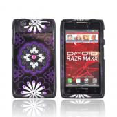 Motorola Droid RAZR MAXX Hard Case w/ Bling - Black/ Silver Gems on Purple/ Black Flowers