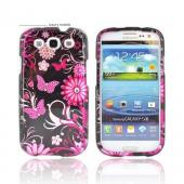 Samsung Galaxy S3 Hard Case w/ Bling - Hot Pink Flowers & Butterflies on Black