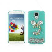 Seafoam Green Bling Butterfly Hard Case for Samsung Galaxy S4
