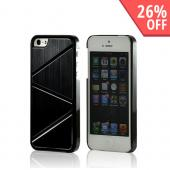 Black/ Silver Hard Case w/ Aluminum Back & Geometric Shapes for Apple iPhone 5/5S