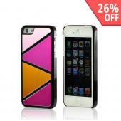 Hot Pink/ Baby Pink/ Orange Hard Case w/ Aluminum Back & Geometric Shapes for Apple iPhone 5/5S