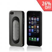 Grey/ Black Hard Back Cover w/ Aluminum Back & Folding Kickstand for Apple iPhone 5/5S