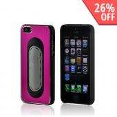 Hot Pink/ Black Hard Back Cover w/ Aluminum Back & Folding Kickstand for Apple iPhone 5/5S