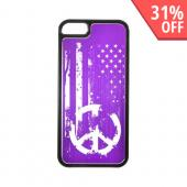 Apple iPhone 5/5S Hard Back Cover w/ Purple Aluminum Back - Grunge Flag