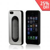 Silver/ Black Hard Back Cover w/ Aluminum Back & Folding Kickstand for Apple iPhone 5/5S