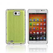 Samsung Galaxy Note Hard Back Clear Case w/ Aluminum - Neon Green