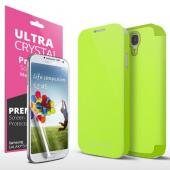 Neon Lime Green Exclusive CellLine Diary Flip Cover Hard Case w/ ID Slot, Satin Cover, & Screen Protector for Samsung Galaxy S4