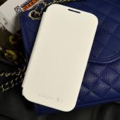 White Exclusive CellLine Flip Cover Case w/ ID Slot, Satin Cover & Free Screen Protector for Samsung Galaxy S4