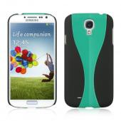 Black/Aqua Dual Material Hard Case (Rubberized + Glossy Plastic) for Samsung Galaxy S4