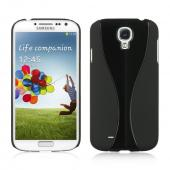 Black Dual Material Hard Case (Rubberized + Glossy Plastic) for Samsung Galaxy S4