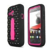 Black Alcatel One Touch Evolve Silicone Skin w/ Bling on Hot Pink Hard Case w/ Kickstand