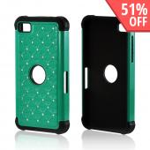 Aqua Hard Cover on Black Silicone Case w/ Silver Gems for BlackBerry Z10