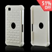 White Hard Cover on White Silicone Case w/ Silver Gems for BlackBerry Z10