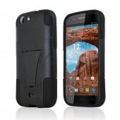 Black Hard Case w/ Kickstand on Black Silicone Skin for Blu Life One