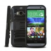 Black Hard Case w/ Kickstand on Black Silicone Case w/ Holster for HTC One (M8)