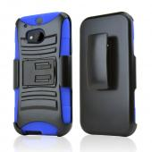Black Hard Case w/ Kickstand on Blue Silicone Case w/ Holster for HTC One (M8)