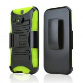 Black Hard Case w/ Kickstand on Neon Green Silicone Case w/ Holster for HTC One (M8)