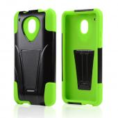 Black Hard Case w/ Kickstand Over Neon Green Silicone Skin Case for HTC One Mini