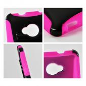 Black Hard Case Over Hot Pink Silicone w/ Kickstand for HTC One