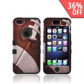 Apple iPhone 5 Hard Case Over Silicone - Brown/ White Football