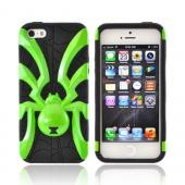 Apple iPhone 5/5S Hard Case Over Silicone - Lime Green Spider on Black
