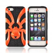 Apple iPhone 5/5S Hard Case Over Silicone - Orange Spider on Black