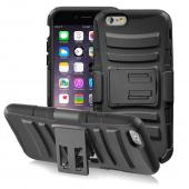 "Black Apple iPhone 6 (4.7"") Dual Layer Hard Case w/ Kickstand on Black Silicone Skin Case w/ Holster - Great Protection!"