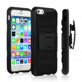 Black Apple iPhone 6 Plus Dual Layer Hard Case w/ Kickstand on Black Silicone Skin Case w/ Holster - Great Protection!