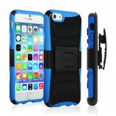 Black Apple iPhone 6 Plus Dual Layer Hard Case w/ Kickstand on Blue Silicone Skin Case w/ Holster - Great Protection!