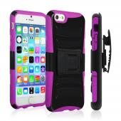 Black Apple iPhone 6 Plus Dual Layer Hard Case w/ Kickstand on Hot Pink Silicone Skin Case w/ Holster - Great Protection!
