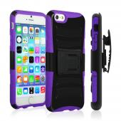 Black Apple iPhone 6 Plus Dual Layer Hard Case w/ Kickstand on Purple Silicone Skin Case w/ Holster - Great Protection!