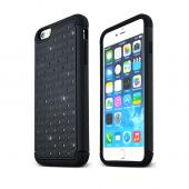 "Black Apple iPhone 6 Plus (5.5"") Dual Layer Hard Cover w/ Bling Over Black Silicone Skin Case - Pretty Protection!"