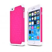 "Hot Pink Apple iPhone 6 Plus (5.5"") Dual Layer Hard Cover w/ Bling Over White Silicone Skin Case - Pretty Protection!"
