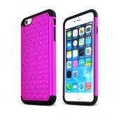 "Purple Apple iPhone 6 Plus (5.5"") Dual Layer Hard Cover w/ Bling Over Black Silicone Skin Case - Pretty Protection!"