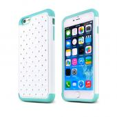 "White Apple iPhone 6 Plus (5.5"") Dual Layer Hard Cover w/ Bling Over Mint Silicone Skin Case - Pretty Protection!"