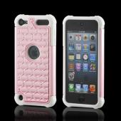 White/ Pink w/ Silver Gems Hard Cover Over Silicone Case w/ Bling for Apple iPod Touch 5