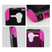 Black Hard Case w/ Kickstand on Hot Pink Silicone Case for Kyocera Hydro Edge