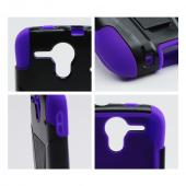 Black Hard Case w/ Kickstand on Purple Silicone Case for Kyocera Hydro Edge