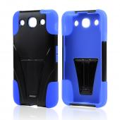 Black Hard Cover w/ Kickstand on Blue Silicone Case for LG Optimus G Pro
