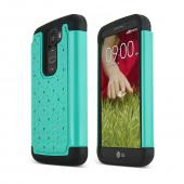 Dark Mint LG G2 Mini Hard Cover w/ Bling Over Black Silicone Skin Case