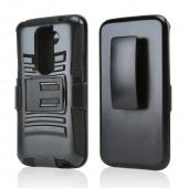Black Hard Case w/ Kickstand on Silicone Skin Case w/ Holster for LG G2 (All Carriers!)