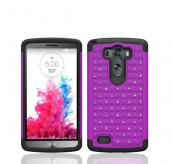 Purple LG G3 Hard Cover w/ Bling Over Black Silicone Skin Case