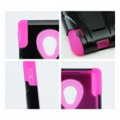 Black Hard Cover w/ Kickstand on Hot Pink Silicone Skin Case for LG Lucid 2