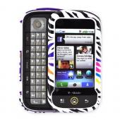 Motorola CLIQ MB200 Hard Case on Silicone Case, Rubber Skin - Colorful Zebra on Purple