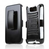 Black Hard Case w/ Kickstand on White Silicone Skin Case w/ Holster for Motorola Droid Ultra/ Droid MAXX