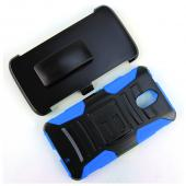 Motorola Droid Turbo 2 Holster Case, [Blue] Supreme Protection Plastic on Silicone Dual Layer Hybrid Case