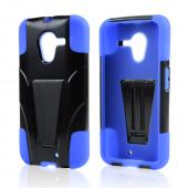 Black Hard Cover w/ Kickstand on Blue Silicone Skin Case for Motorola Moto X
