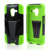 Black Hard Cover w/ Kickstand on Neon Green Silicone Skin Case for Motorola Moto X