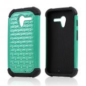 Aqua Hard Cover w/ Bling Over Black Silicone Skin Case for Motorola Moto X